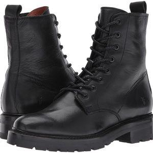 NEW Frye Julie Size 9 Black Leather Combat Boots